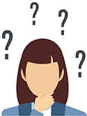 Icon of a woman with question marks around her head