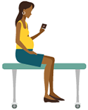 icon of a woman sitting in a doctor's office