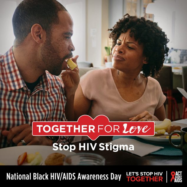 African woman feeding an African American man food. Together For Love. Stop HIV Stigma. National Black HIV/AIDS Awareness Day. Let's Stop HIV TOGETHER. HHS, CDC