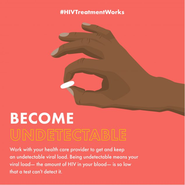 Become undetectable. Work with your health care provider to get and keep an undetectable viral load. Being undetectable means your viral load—the amount of HIV in your blood—is so low that a test can't detect it. #HIVTreatmentWorks