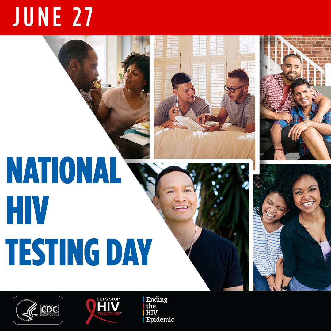 June 27. National HIV Testing Day. Collage of photographs with adults of varying ages, races, and ethnicities.