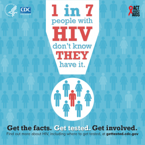 1 in 7 people with HIV don't know they have it. Get the facts. Get tested. Get Involved. Find out more about HIV, including where to get tested, at gettested.cdc.gov