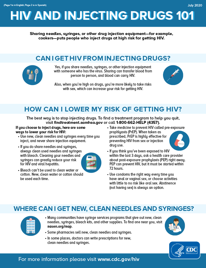 HIV and Injecting Drugs 101 info sheet