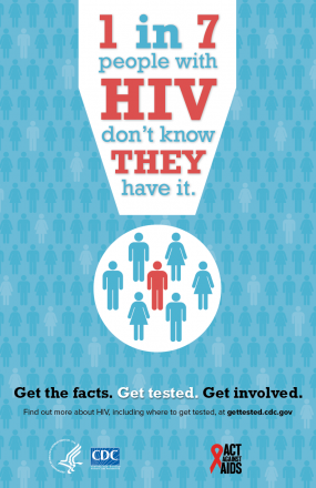 1 in 7 people with HIV don't know they have it. Get the facts. Get tested. Get involved.