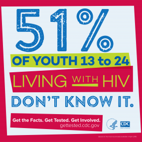 This infographic provides statistical data about youth living with HIV. 51% of youth, 13 to 24, are living with HIV and don't know it.