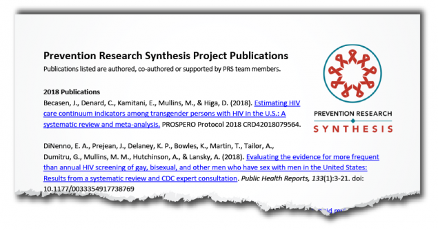 torn image of PDF - Prevention Research Synthesis Project Publications