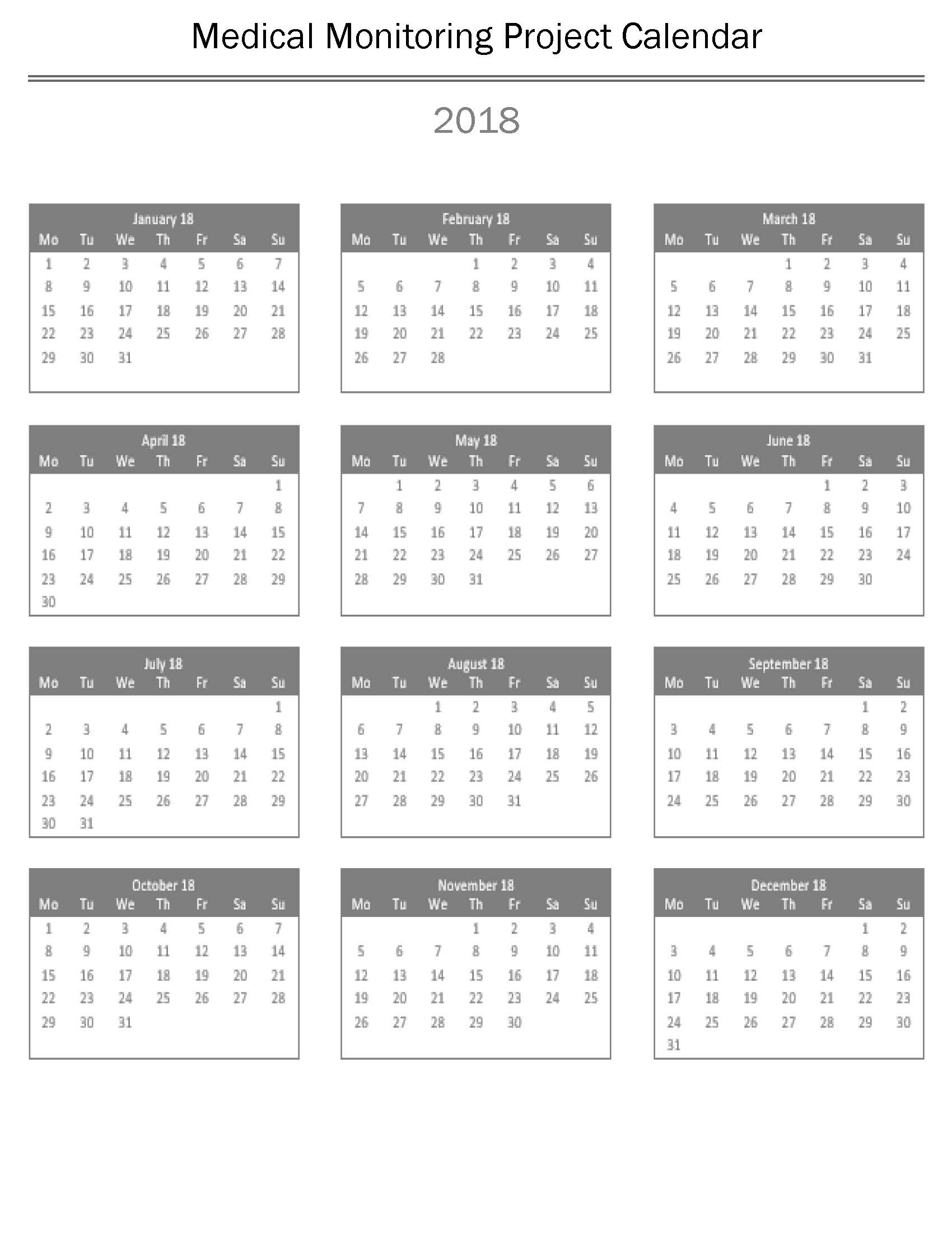 2018 Medical Monitoring Project (MMP) Calendar