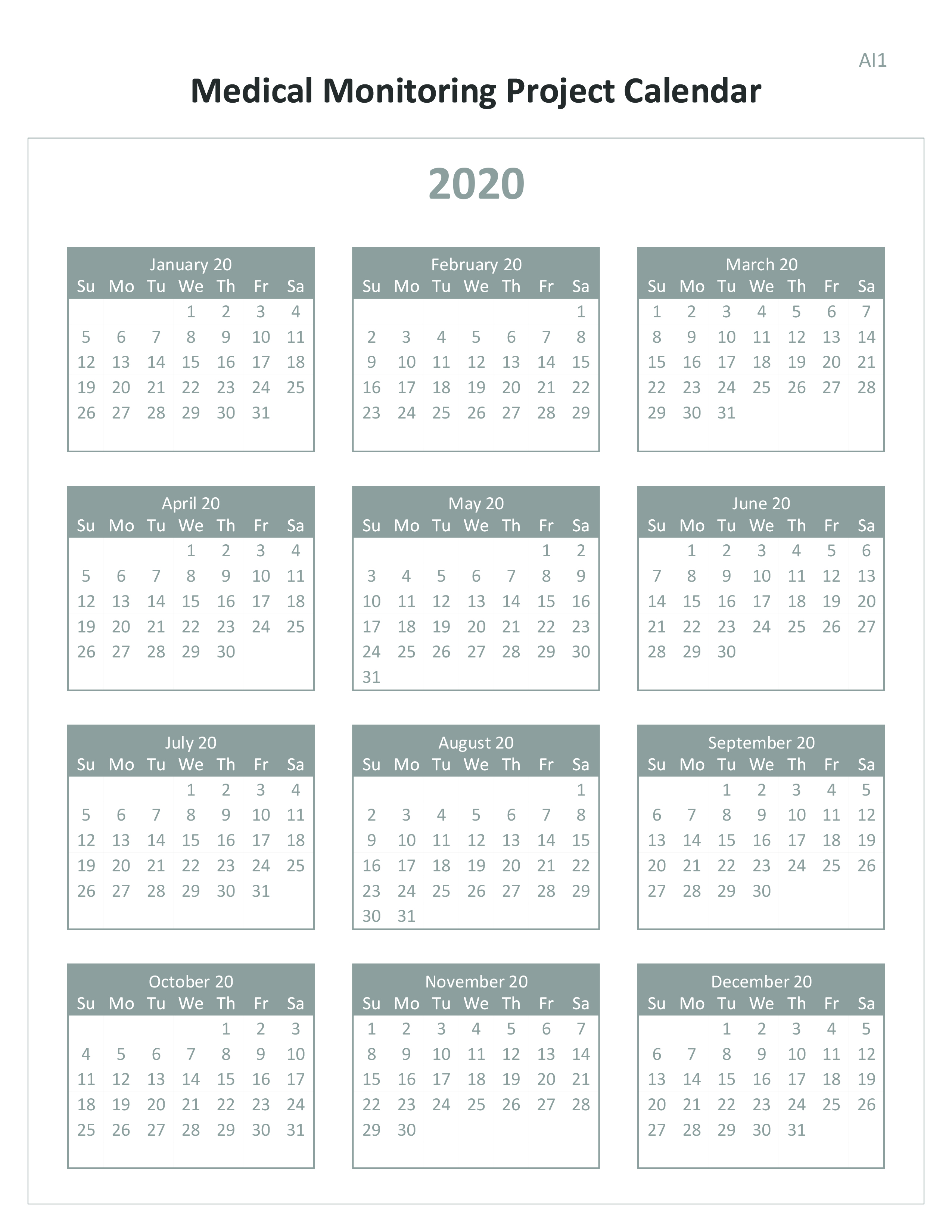 2019 Medical Monitoring Project (MMP) Calendar
