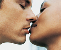 photo of two people kissing