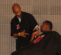 Bronner Bros. hair show attendees engage in HIV prevention role play at the Shop Talk Workshop