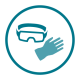 Use gloves, goggles, and other barriers when anticipating contact with blood or body fluids.