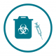 Dispose of used syringes or other sharp instruments in a sharps container.