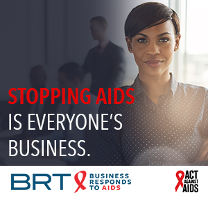 Stopping AIDS is everyone's Business.  Image of a woman standing in a corporate setting with colleagues in the background. Business Responds to AIDS logo. Act Against AIDS logo.