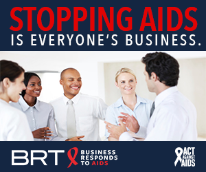 Stopping AIDS is everyone's Business. Image of three women and two men standing and talking to each other in a corporate setting; Business Responds to AIDS logo; Act Against AIDS logo.