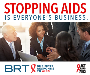 Stopping AIDS is everyone's Business. Image of colleagues surrounding a laptop and discussing; Business Responds to AIDS logo; Act Against AIDS logo.