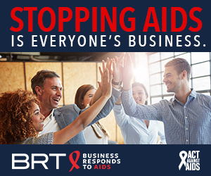 Stopping AIDS is everyone's Business. Image of colleagues giving each other high-fives; Business Responds to AIDS logo; Act Against AIDS logo.