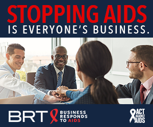Stopping AIDS is everyone's Business. Image of male and female colleagues in a conference room joining hands together to show unity; Business Responds to AIDS logo; Act Against AIDS logo.