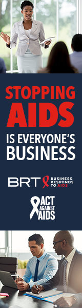 Stopping AIDS is everyone's Business.  Image of a woman standing in a corporate setting with colleagues in the background; Business Responds to AIDS logo; Act Against AIDS logo; Image of two men sitting in a conference room looking at a laptop screen.