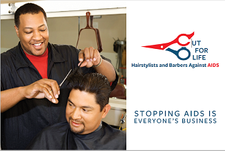 Cut For Life: Hairstylists and Barbers Against AIDS palm card. Stopping AIDS is everyone's business.