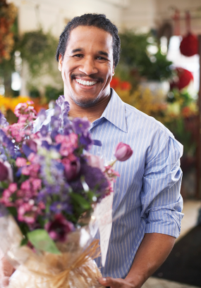 photo of a man working in a florist