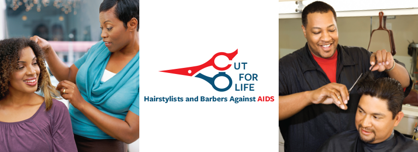 Cut for Live. Hairstylists and Barbers Against AIDS. Photos showing barbers cutting hair.