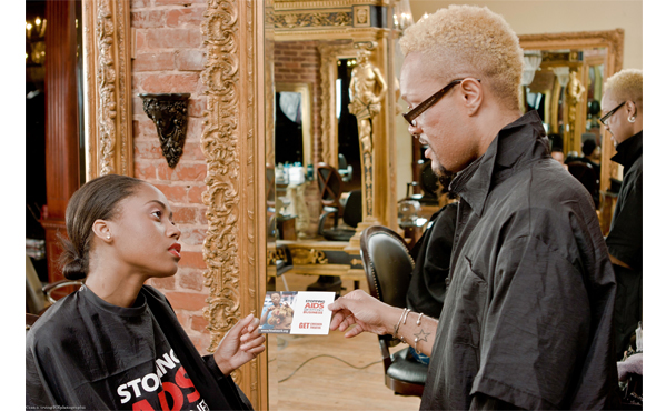 Atlanta stylist engaging a client in an HIV prevention conversation