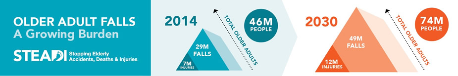 Older Adult Falls: A Growing Burden. STEADI: Stopping Elderly Accidents, Deaths & Injuries. 2014: 46M total older adults, 7M injuries, 29M falls. 2030: 74M total older adults, 12M injuries, 49M falls