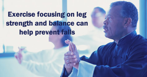 Exercise focusing on leg strength and balance can help prevent falls