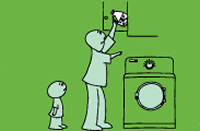 cartoon drawing of a parent putting poison out of reach
