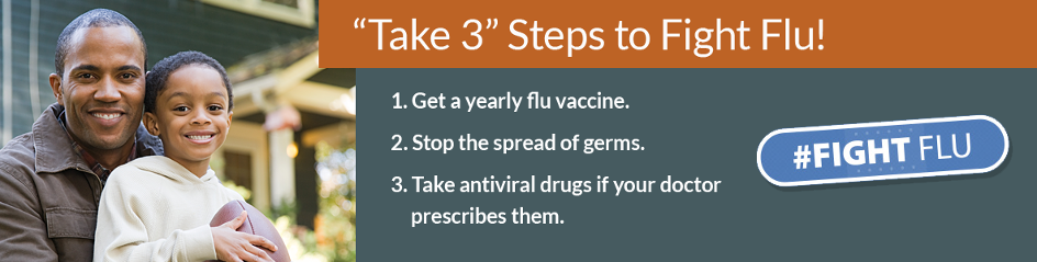Take 3 Steps to Fight Flu - Get a yearly vaccine. Stop the spread of germs. Take antiviral drugs if your doctor prescribes them.