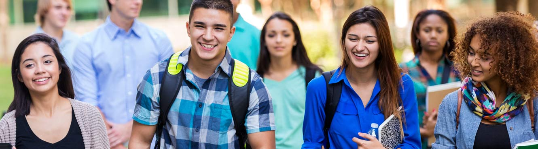 teens walking with backpacks