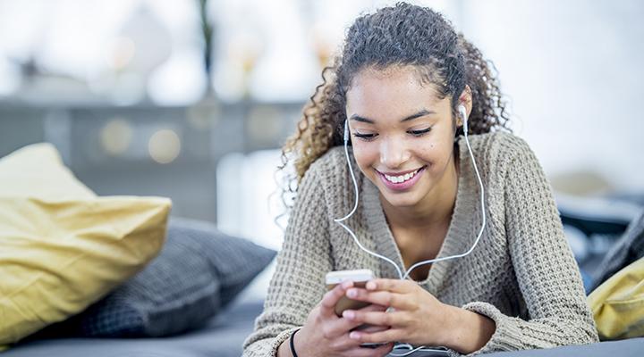teenage girl with headphones on