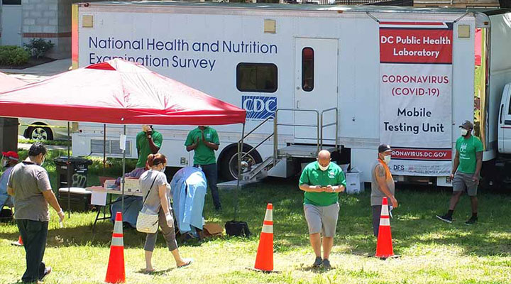 CDC's NHANES team provided the Washington, DC, Department of Forensic Sciences with its mobile examination center for COVID-19 testing.