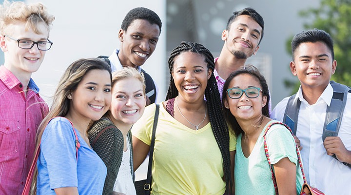 group of diverse adolescents