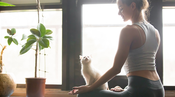 woman sitting on yoga mat with cat