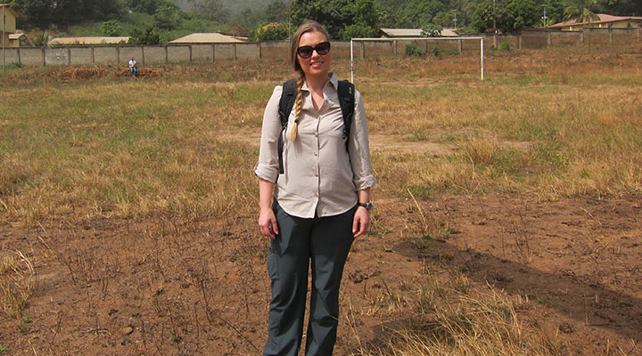 Haberling standing in a field in Africa