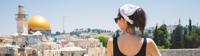 Woman overlooking Jerusalem old city
