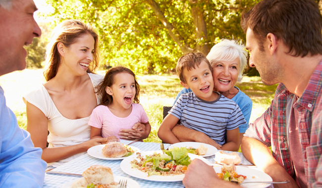 family having picnic outside