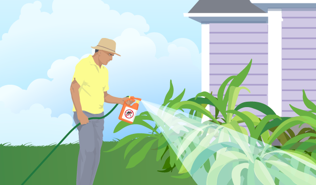 Graphic of man spraying insect repellent