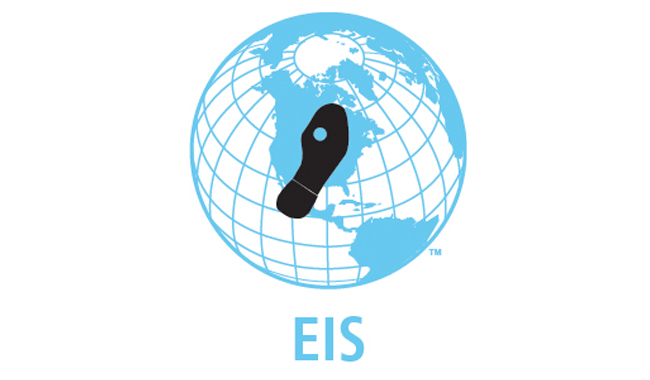 EIS logo. Blue globe with footprint.