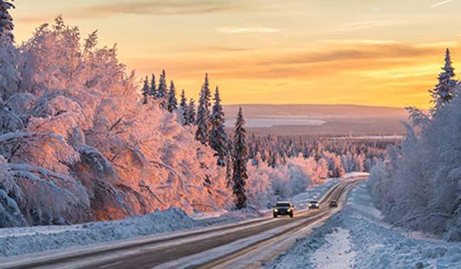 Cars on snowy roads