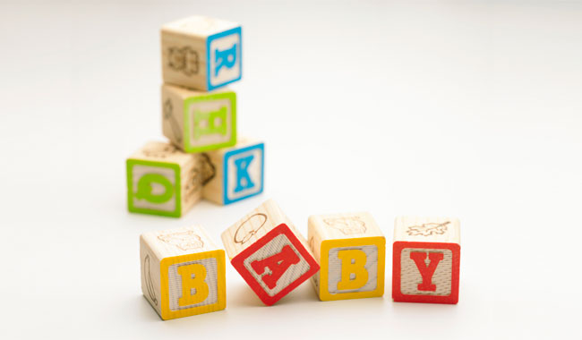 Alphabet blocks spelling baby