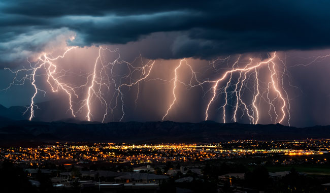 image of lightning over a city