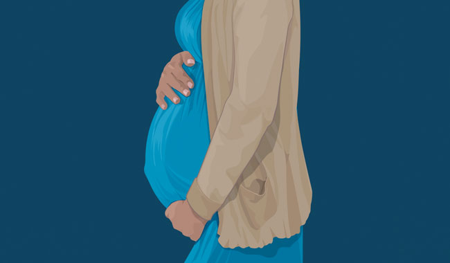 Graphic of pregnant belly