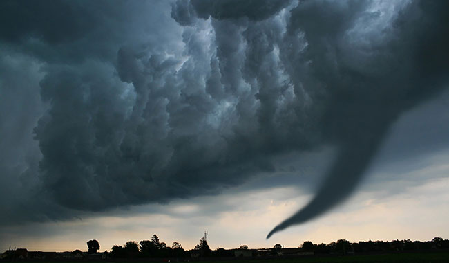 tornado forming in sky