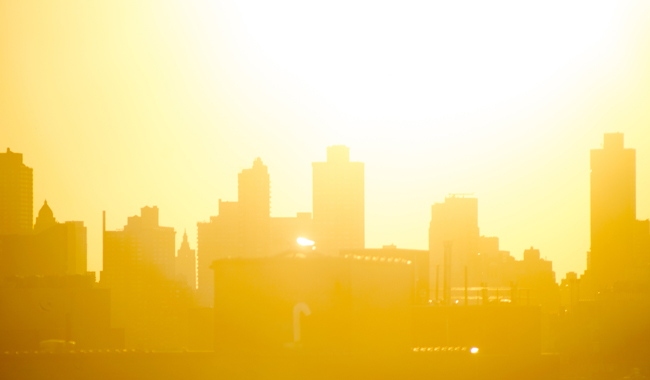 Hazy summer image of city