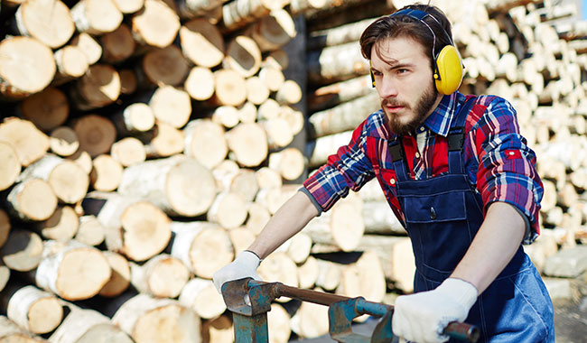 Construction worker wearing hearing protection