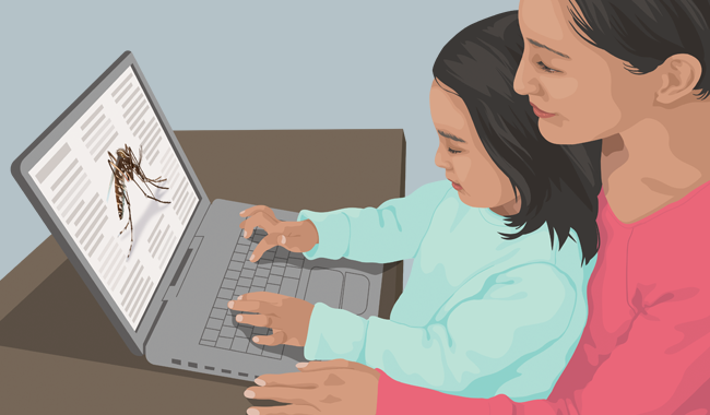 Illustration of mother and daughter looking at mosquito related information on computer.