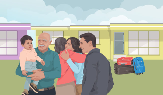 Illustration of a family reunion