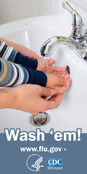 Wash your and your child's hands with soap and clean running water. Visit www.cdc.gov/h1n1 for more information.